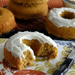 Pumpkin Donuts with Vanilla Buttercream Frosting.
