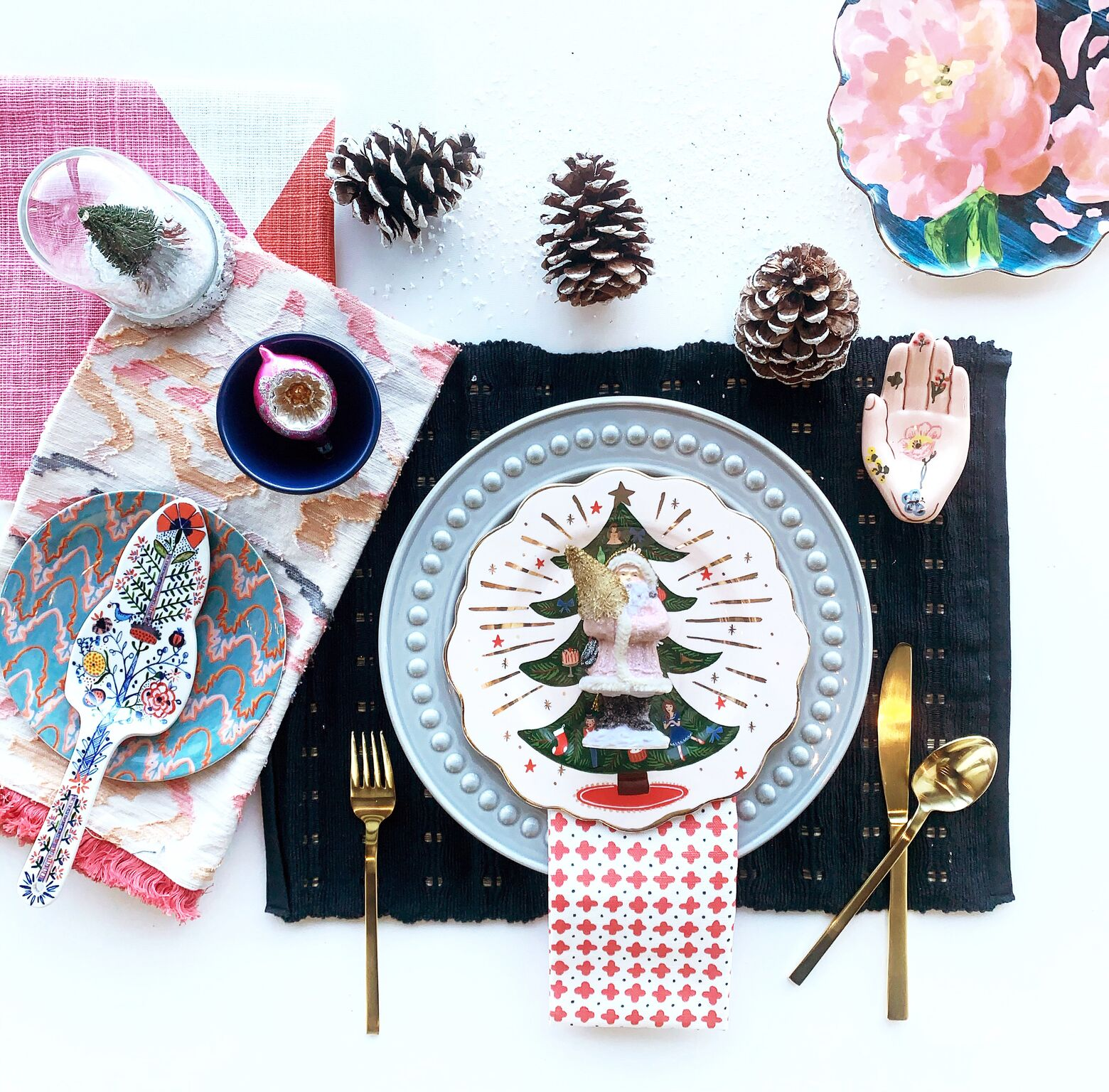 leanne bunnell interiors calgary unconventional christmas colours pink blue patterns floral pine cones