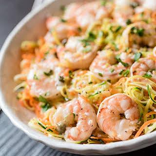 Lemon Garlic Shrimp and Spiralized Veggie Pasta.