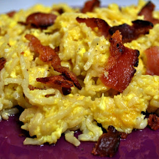 Eggs, Bacon, and Noodle Scramble
