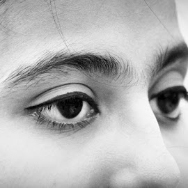 by Shatoddruh Saha - Black & White Portraits & People ( #eyeliner, #nikonphotography, #girl, #eyelashes, #indianphotography, #woman, #blackandwhite, #eyes, #eyebrows, #people, #humaneye, #eye )