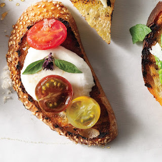 Tomato, Mozzarella & Thai Basil Crostini
