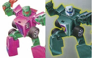 Photo: Machine Wars Mirage (right) used the same package art as G2 Laser Rod Jolt (left), despite little actual similarity between the two toys.