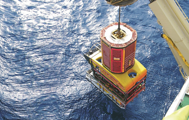 Plumbing the depths: A remotely operated vehicle about to be launched into the ocean to perform exploration work on the sea floor. Picture: Nautilus Minerals