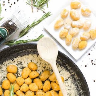 Gluten-free Pumpkin Gnocchi with Rosemary Brown Butter Sauce.