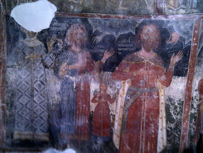 Photo: The founders of monastery - the white scarf indicates the typical clothes of the period. Many eyes in these frescas and orthodox icons have been poked by Turkish invaders