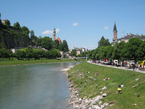 Photo: Salzburg is located on the banks of the Salzach river.