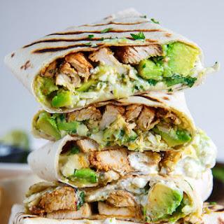 Chicken and Avocado Burritos.