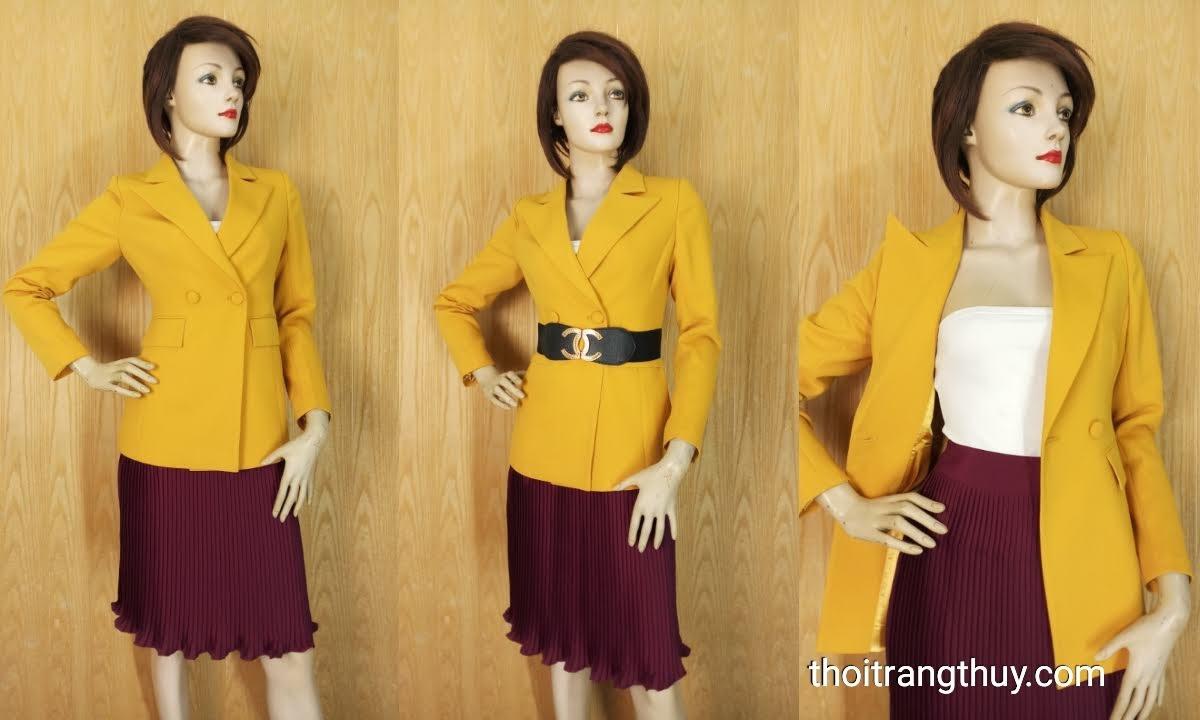 Áo vest nữ công sở màu vàng cháy V658 Thời Trang Thủy