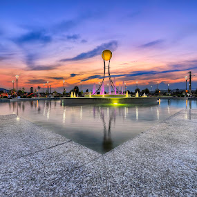 Lake park by Marko Gilevski - City,  Street & Park  Fountains ( hrd, lake park, fountain park, sunset, fountain, lake )
