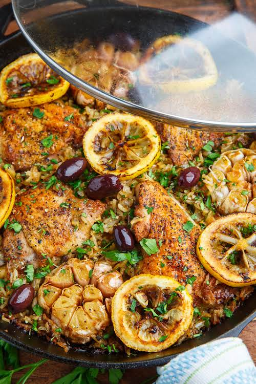 """One Pan Greek Lemon Chicken Rice with Roast Garlic""""A super simple and..."""