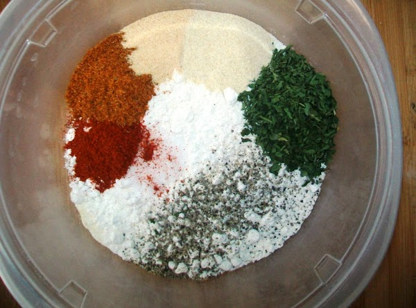 While the steaks are doing their thing, get the flour mixture ready to go.