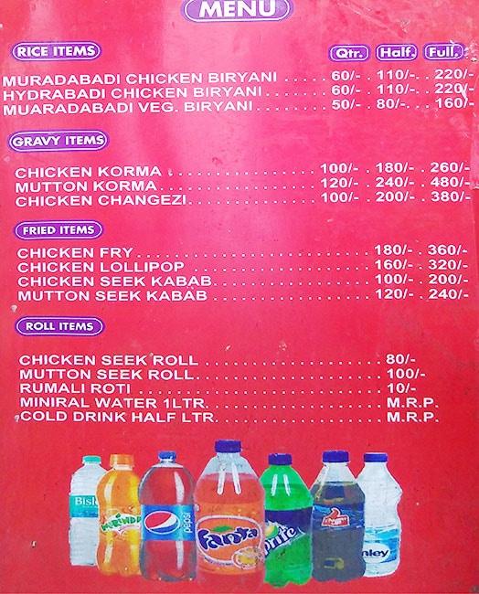 Zaika Muradabadi menu 1
