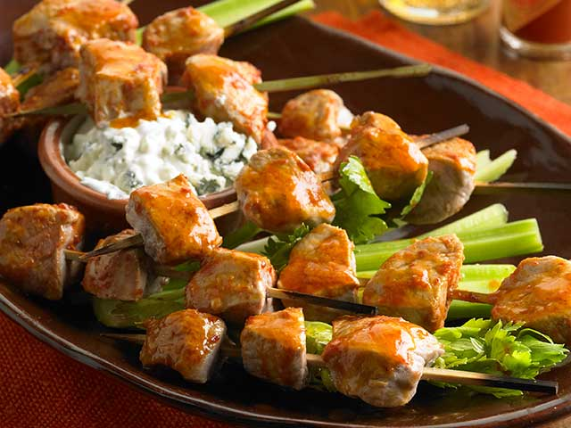 Buffalo Pork Skewers with Blue Cheese Sauce Recipe