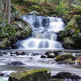 Roaring Tranquility by Brandon Bass - Landscapes Waterscapes ( ct, fall colors, fall time, photographer, water fall, nature art )