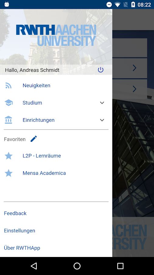 RWTHApp – Screenshot