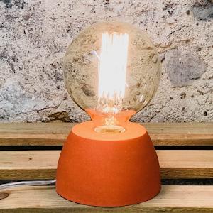 lampe béton orange forme design fait-main création béton
