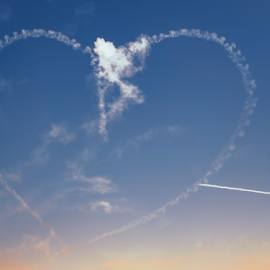 Aircrafts aerobatic plane drawing heart figure in the sky by Roberto Sorin - Transportation Airplanes ( plane, flight, spain, aguila, poland, precision, radom, several, aviation, air, formation, manouvre, speed, coordination, patrulla aquila, patrulla, jet, action, military, precise, event, europe, group, sky, spanish, airshow, festival, aircraft, airfield, display, european, smoke, aerobatic, team, heart, acrobatics, celebration, fast, acrobatic, airplane, flying, fighter, force, demonstration, spanish airforce,  )