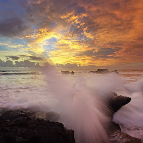 Angry Wave by Arya Satriawan - Landscapes Sunsets & Sunrises ( water, sky, color, national geographic, sunset, wave, angry, beach, landscape )