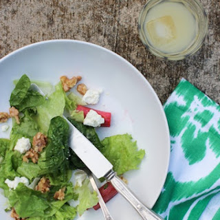 Roasted Rhubarb Salad with Honey, Walnuts & Goat Cheese