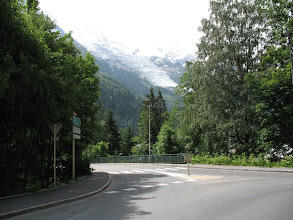 Photo: Near the campground, the first glimpse of a Swiss glacier on Mt Blanc