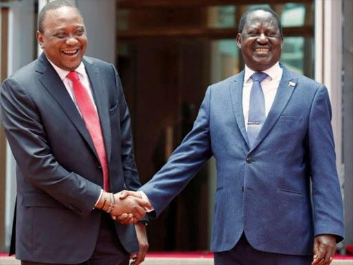 President Uhuru Kenyatta and ODM leader Raila Odinga during the March 9 handshake