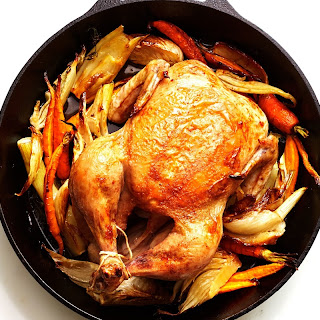 Cast-Iron Roast Chicken with Fennel and Carrots recipe | Epicurious.com.