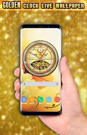 Golden Clock live wallpaper 2018 Gold Glitter Free 1.9 screenshots 12