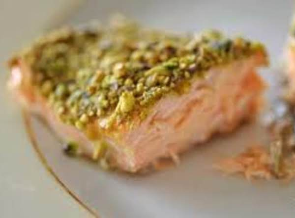 Roasted Pistachio Salmon With Maple Whiskey Sauce Recipe