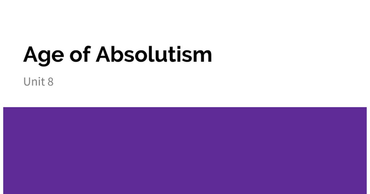 Age Of Absolutism Google Slides
