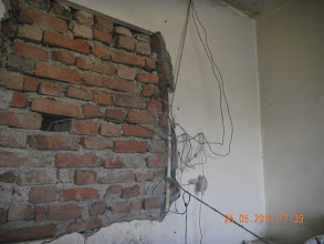 Photo: GF LHS Bedroom Wall was broken to take out the WAC Cover. This shows the wiring arrangement close by .Hope it is not cut ! - D-41, P-3 GNOIDA, Built by Nanak Builders, Mr. Virender Batra