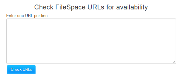 FileSpace Link Checker - URL field