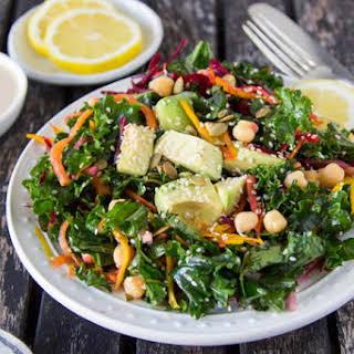 Kale + Chickpea Salad {with Lemon Tahini Dressing}.