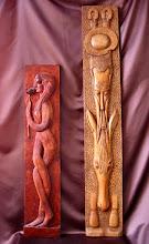 Photo: Tamaño: 102 x 21 cm. Y 141 x 22 cm. || Talla en madera. Woodcarving.   Puedes conocer más de este artista en el blog: http://tallaenmadera-woodcarving-esculturas.blogspot.com/
