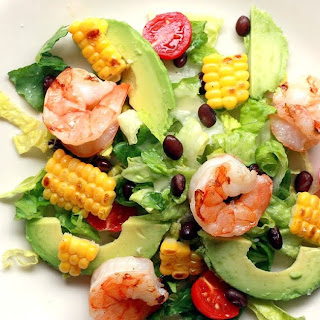 Fiesta Salad with Grilled Shrimp and Corn