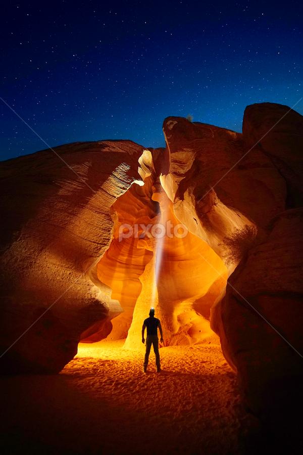 Enter the Cave by Craig Bill - Landscapes Travel ( canyon, slot canyon, arizona, nightscape, hiking, night photography )