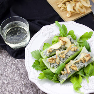 Celery filled with Blue Cheese Snacks.