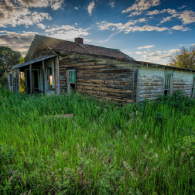 This Old House by Charles Adam - Buildings & Architecture Decaying & Abandoned ( field, clouds, old, sky, grass, spooky, sunset, trees, house, evening, sun, abandoned )