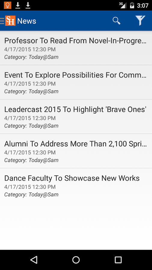 SHSU Mobile App- screenshot