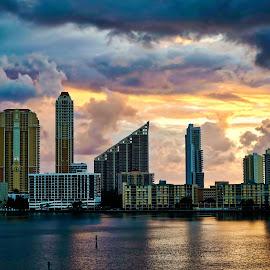 Sunrise 12/5, Sunny Isles, FL by Neil Dern - City,  Street & Park  Skylines ( skyline, waterscape, colors, buildings, landscapes )