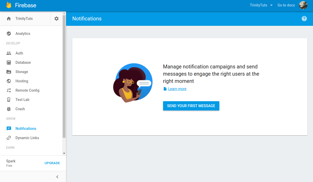 Send notification from Firebase console android