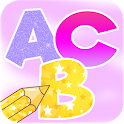 Learn Alphabets Coloring Book With Glitter icon