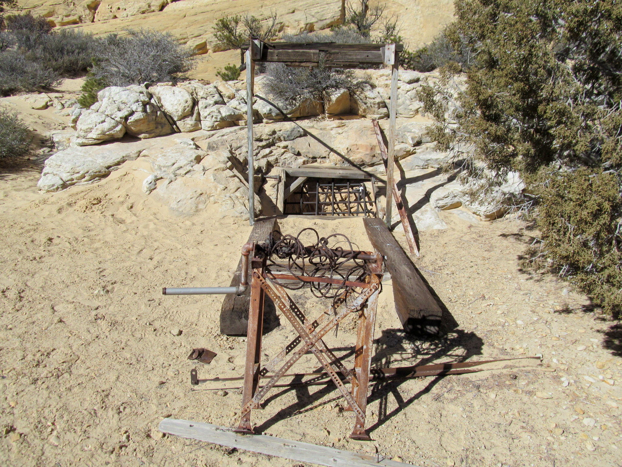 Photo: Winch and timbers above a vertical mine shaft