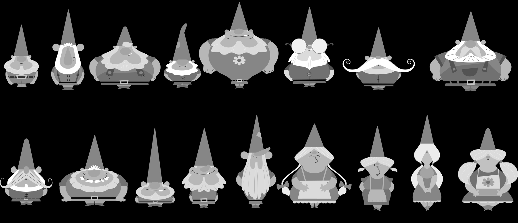 Design explorations of the gnomes' basic silhouettes and shapes.