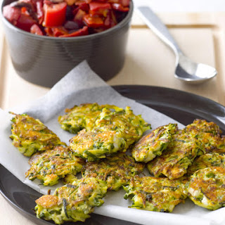 Zucchini Feta Patties with Tomato Salad