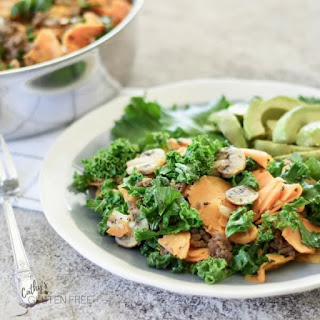 Ground Beef Skillet with Sweet Potatoes and Kale.