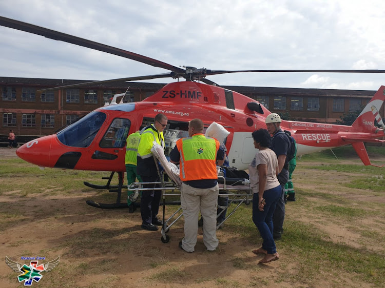 The newborn baby girl was rescued by emergency workers and airlifted to a nearby hospital