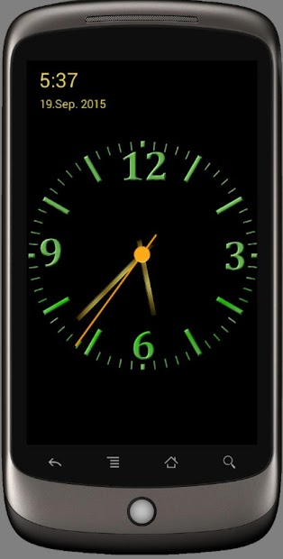 Nice Night Clock with Alarm and Light Android App Screenshot