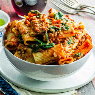 Easy Rigatoni with Lentil Bolognese Recipe