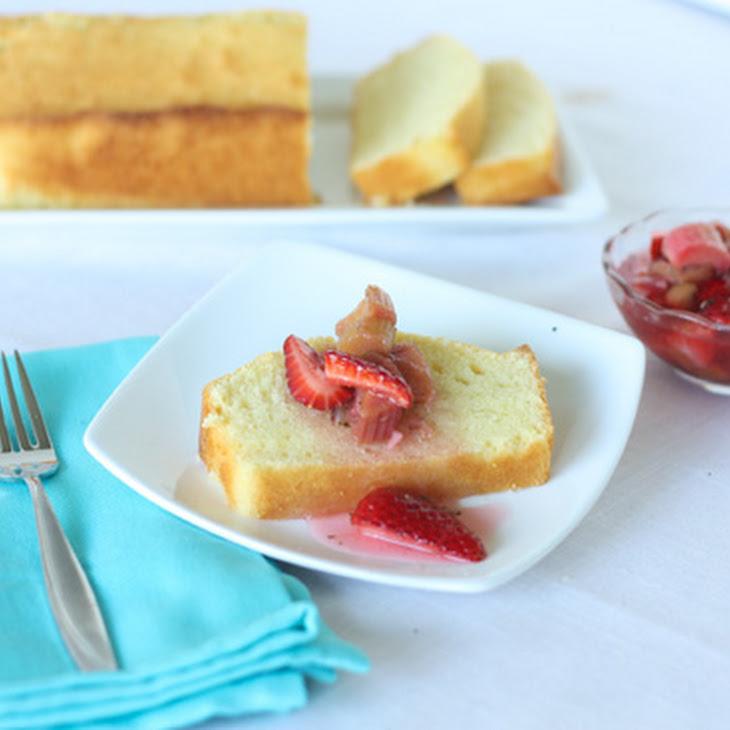 Lemon Pound Cake with Strawberry Rhubarb Compote Recipe